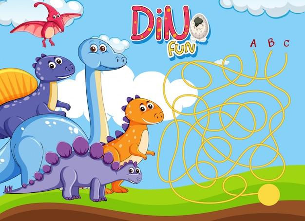 Dino labyrinth puzzle spiel vorlage