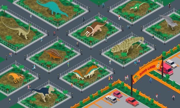 Dino-land isometrische zusammensetzung
