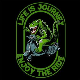 Dino mit roller für t-shirt und bekleidung trendiges design.