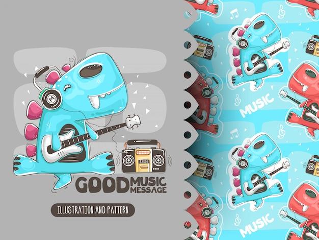 Dino spielt gitarre und musikmuster. illustration für t-shirts