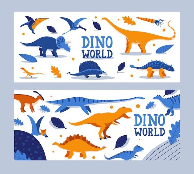 Dino-weltfahne, kinderbuch, prähistorische tierillustration