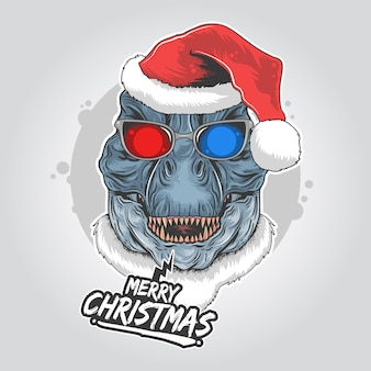 Dinosaur santa claus t-rex