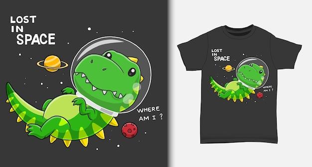 Dinosaurier-astronauten-karikatur mit t-shirt-entwurf