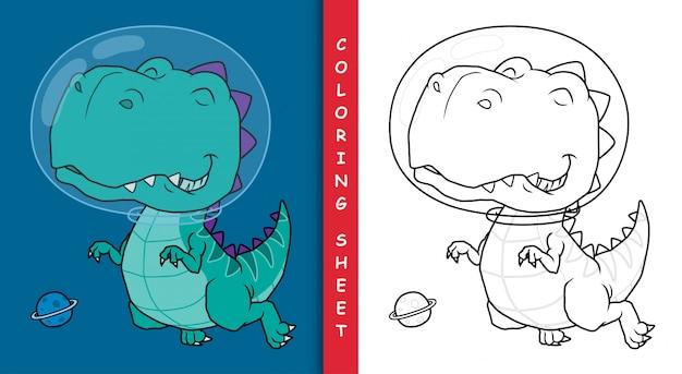 Dinosaurier-astronauten-karikatur