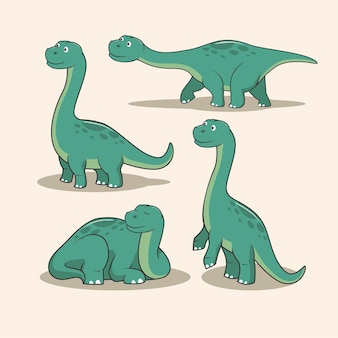 Dinosaurier brontosaurus cartoon set