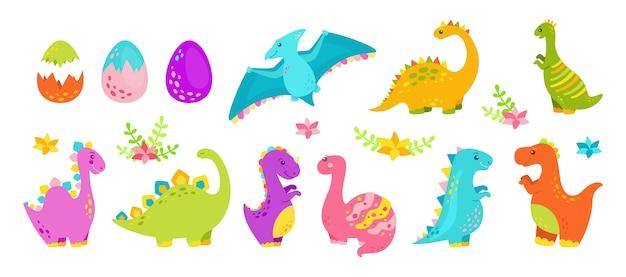 Dinosaurier cartoon set flache sammlung, raubtiere und pflanzenfresser dino. lustige bunte dinosaurier