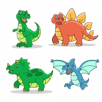 Dinosaurier-cartoon-stil-illustration-set