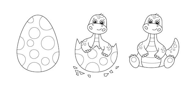 Dinosaurier-ei und niedlicher kleiner dinosaurier für kindermalbuch. baby-brontosaurus. puzzle-spiel für kinder. schwarzweiss-cartoon lokalisierte vektorillustration auf weißem hintergrund