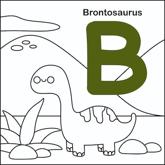 Dinosaurier färbung mit alphabet b.