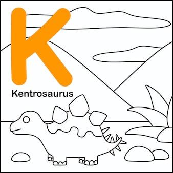 Dinosaurier färbung mit alphabet k.