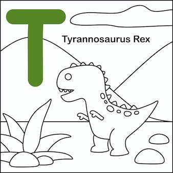 Dinosaurier färbung mit alphabet t.