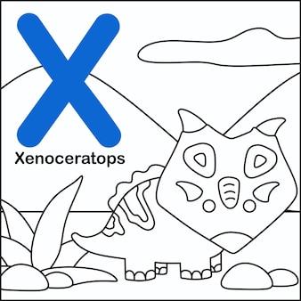Dinosaurier färbung mit alphabet x.