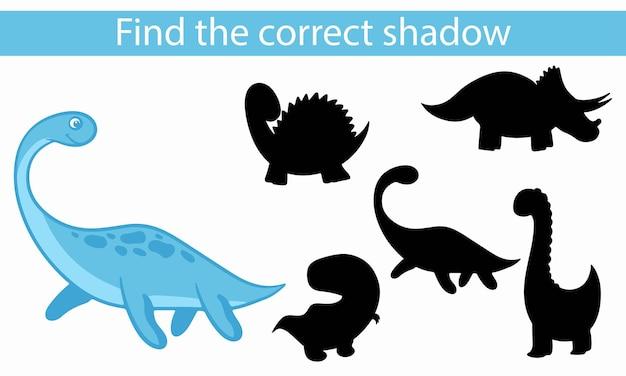 Dinosaurier. finden sie den richtigen schatten. lernspiel für kinder. vektorillustration, karikaturart.