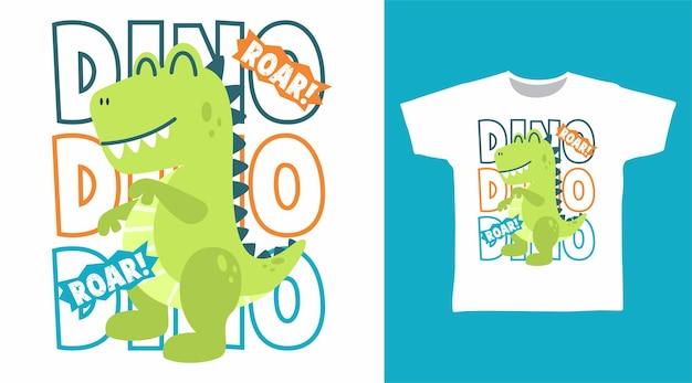 Dinosaurier-gebrüll-cartoon für t-shirt-design