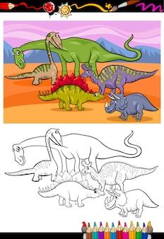 Dinosaurier-gruppe cartoon malbuch