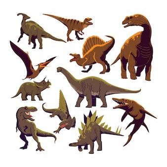 Dinosaurier-ikonen-sammlung farbiger karikatur-schablonen-vektor