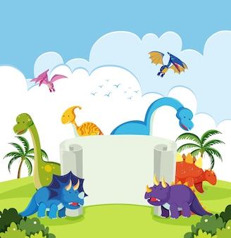 Dinosaurier in der naturfahne