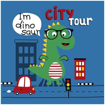 Dinosaurier in der stadt lustige tierkarikatur