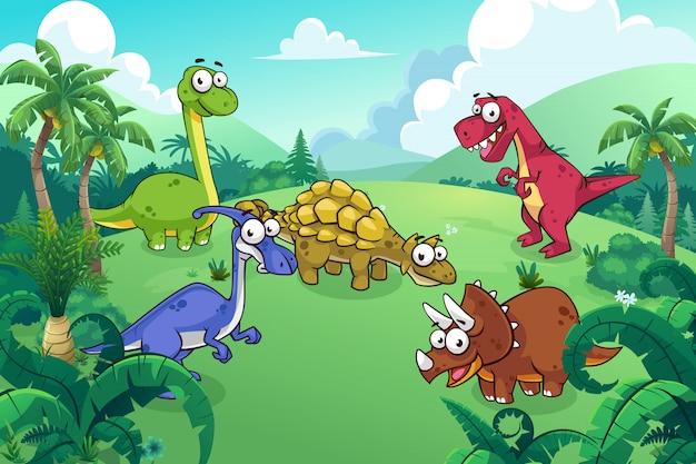 Dinosaurier in einem wilden