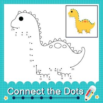 Dinosaurier-kinder verbinden das punkt-arbeitsblatt für kinder, die die nummern 1 bis 20 zählen. der diplodocus