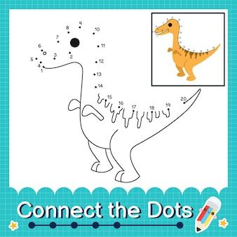 Dinosaurier-kinder verbinden das punkt-arbeitsblatt für kinder, die die nummern 1 bis 20 zählen. der gallimimus