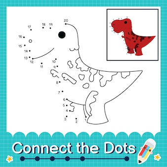 Dinosaurier-kinder verbinden das punkt-arbeitsblatt für kinder, die die nummern 1 bis 20 zählen. der hadrosaurus
