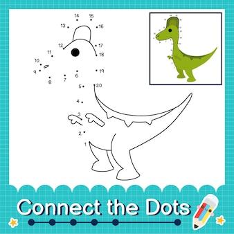Dinosaurier-kinder verbinden das punkt-arbeitsblatt für kinder, die die nummern 1 bis 20 zählen. der jaxartosaurus