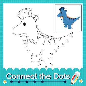 Dinosaurier-kinder verbinden das punkt-arbeitsblatt für kinder, die die nummern 1 bis 20 zählen. der lambeosaurus