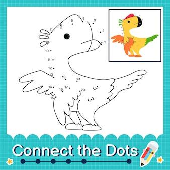 Dinosaurier-kinder verbinden das punkt-arbeitsblatt für kinder, die die nummern 1 bis 20 zählen. der oviraptor