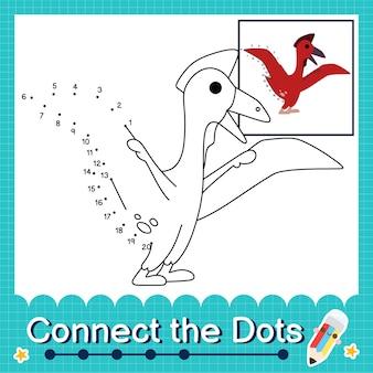 Dinosaurier-kinder verbinden das punkt-arbeitsblatt für kinder, die die nummern 1 bis 20 zählen. der quetzalcoatlus