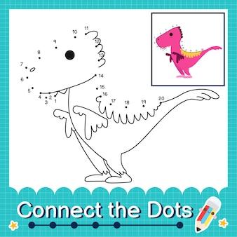 Dinosaurier-kinder verbinden das punkt-arbeitsblatt für kinder, die die nummern 1 bis 20 zählen. der utahreptor