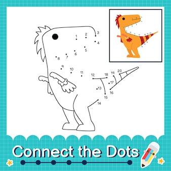 Dinosaurier-kinder verbinden das punkt-arbeitsblatt für kinder, die die nummern 1 bis 20 zählen. der velociraptor