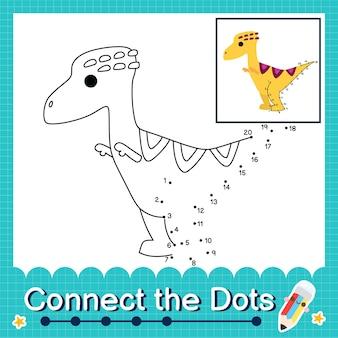 Dinosaurier-kinder verbinden das punkt-arbeitsblatt für kinder, die die nummern 1 bis 20 zählen. der wannanosaurus