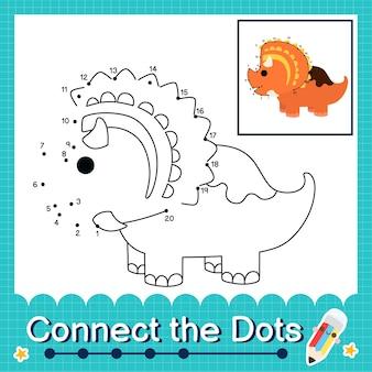 Dinosaurier-kinder verbinden das punkt-arbeitsblatt für kinder, die die nummern 1 bis 20 zählen. die regaliceratops