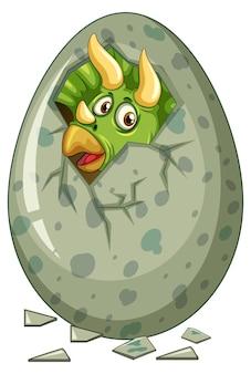 Dinosaurier kommt aus grauem ei