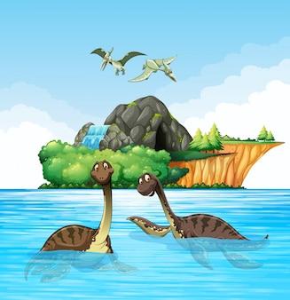 Dinosaurier leben im ozean