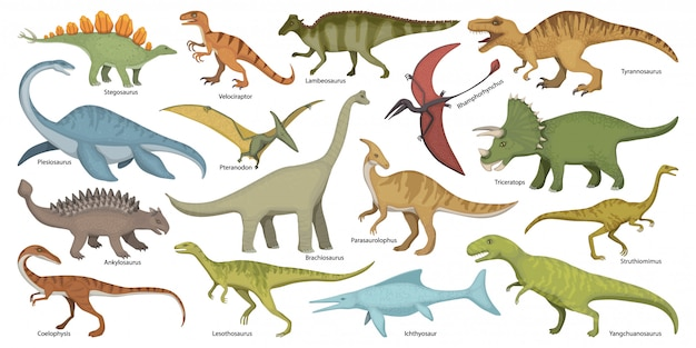 Dinosaurier lokalisierte karikatursatzikone. cartoon set icon dino tier.
