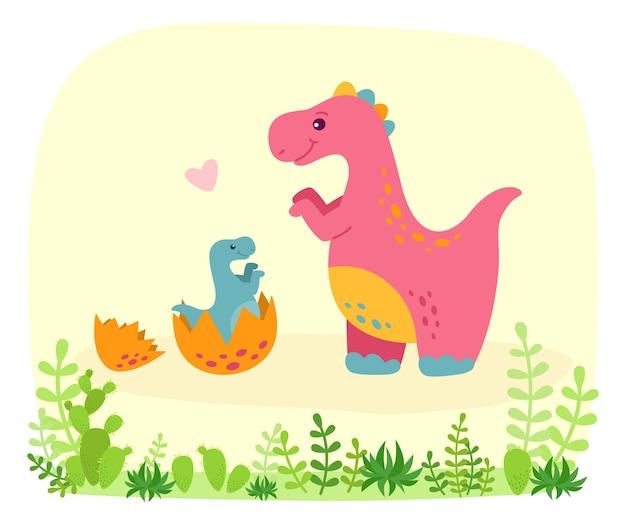 Dinosaurier mit baby dino, karikaturstil. lustiger tyrannosaurus rex mit pflanzen und kakteen. bunte niedliche lustige kinderillustration