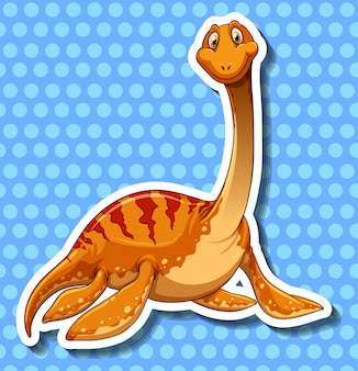Dinosaurier mit langem stutzen auf blau