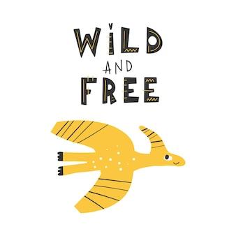 Dinosaurier mit slogan-grafik wild und kostenlose lustige dino-karikaturen