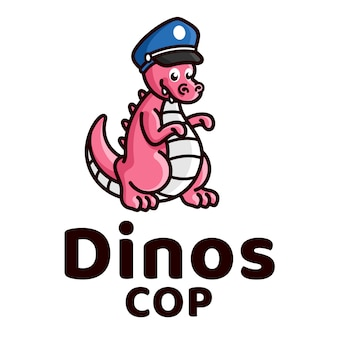 Dinosaurier-polizei-nette kinderlogo-schablone