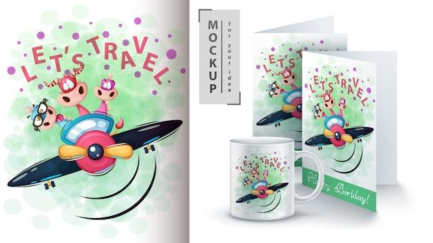 Dinosaurier-reiseplakat und merchandising