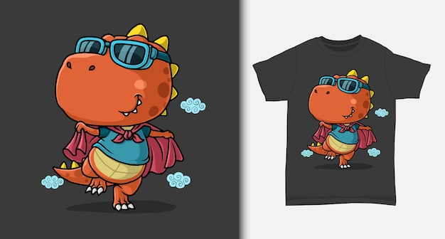 Dinosaurier-superhelden-karikatur mit t-shirt-entwurf