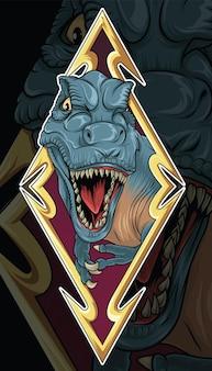 Dinosaurier t-rex auf schild illustration