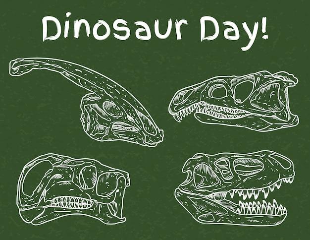 Dinosaurier tag in der schule. tag der paläontologie im vorschulalter. fleischfressende und pflanzenfressende fossilien gezeichnet auf grüner tafel. handgezeichnete skizzenbildserie der dinoschädellinie