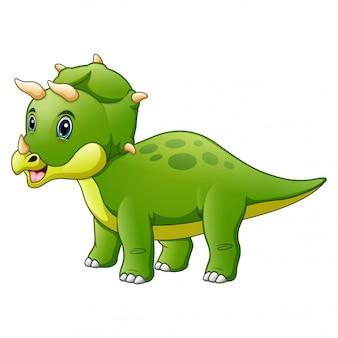 Dinosaurier-triceratops-karikatur lokalisiert auf weiß