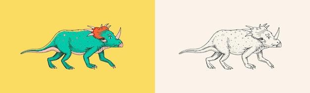Dinosaurier triceratops skelette fossilien prähistorische reptilien tier graviert vintage hand gezeichnet