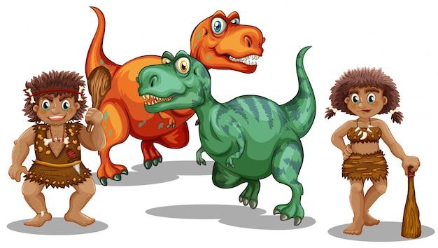 Dinosaurier und höhlenmenschen