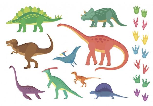 Dinosaurier und ihre fußabdrücke