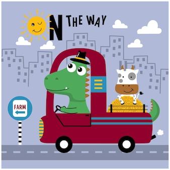 Dinosaurier und kuh auf der lustigen tierkarikatur des autos